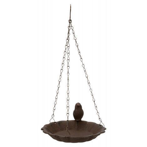 Baignoire compatible avec oiseaux a suspendre en fonte 250ml D16cm brun