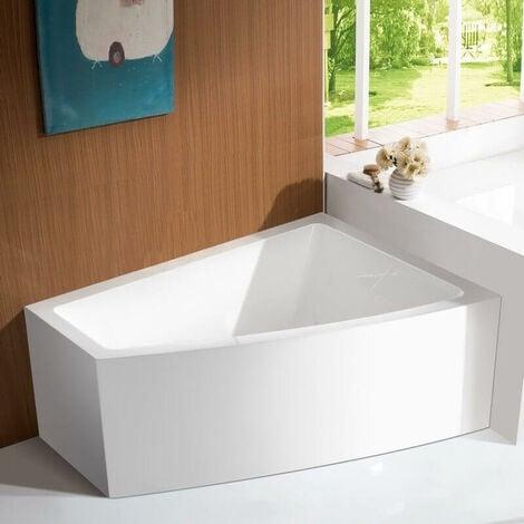 Baignoire d\'Angle à Droite Bain Douche Asymétrique - Acrylique Blanc  -160x120 cm - Kingston
