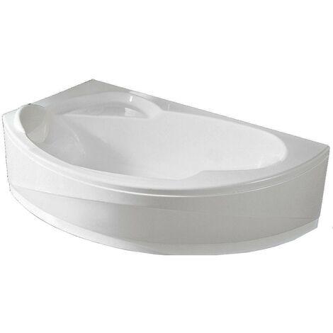 Baignoire d'angle asymétrique VOGUE - Angle à gauche - Dimensions : 165 x 85 avec châssis tablier vidage et repose tête - Couleur : Blanc