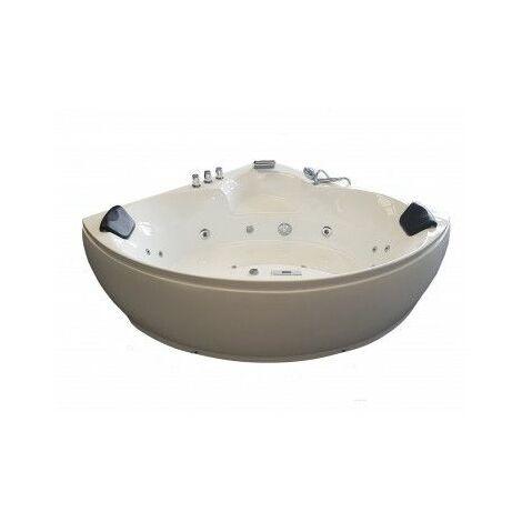 Baignoire d'angle balneo 150x150 toutes options - blanche