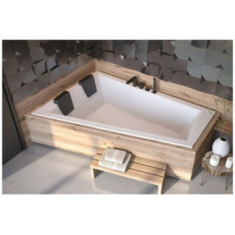 Baignoire d'angle Gauche ULTIMA DUO 170 ou 180 cm ultra-slim - Dimensions: 180cm - Blanc