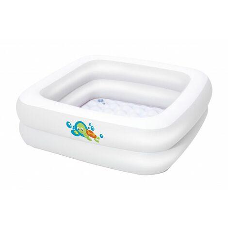 Baignoire gonflable carrée pour bébé - L 86 cm x l 86 cm x H 25 cm