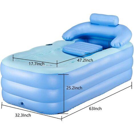 Baignoire gonflable portable pour adulte avec pompe à air électrique, en PVC haute densité avec baignoire pliable et portable pour spa adulte (160 x 32 x 64 cm).