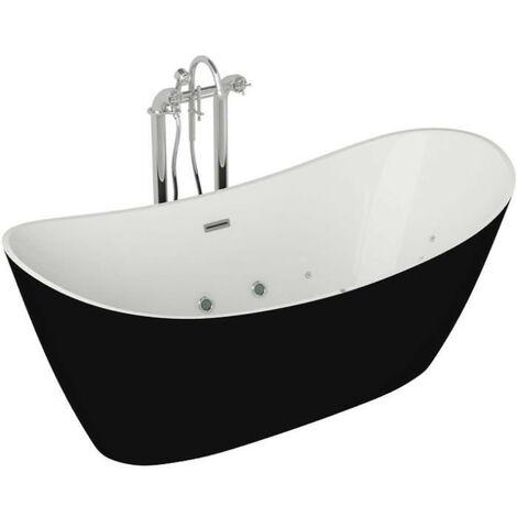 Baignoire hydromassante - 180x90x72cm - Design bicolore - Blanc/Noir