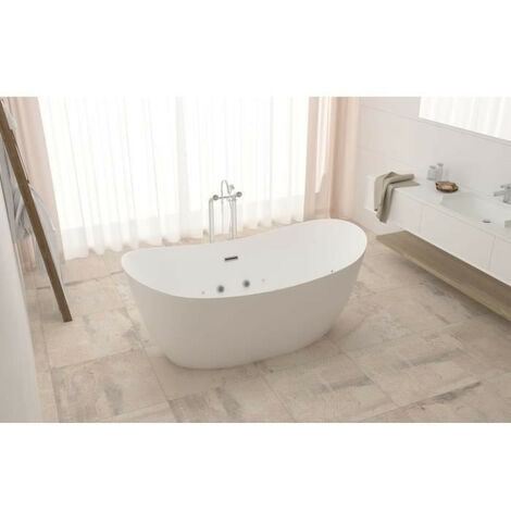 Baignoire hydromassante - 180x90x72cm - Design blanc