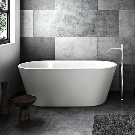 Baignoire îlot design ovale NEW-YORK blanche 170 cm Inclus DEBRIO noir mat - Blanc Inclus DEBRIO noir mat