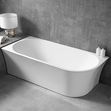 """main image of """"Baignoire îlot NOVA CORNER en acrylique sanitaire blanc - installation à gauche -170 x 78 cm - robinetterie en option"""""""