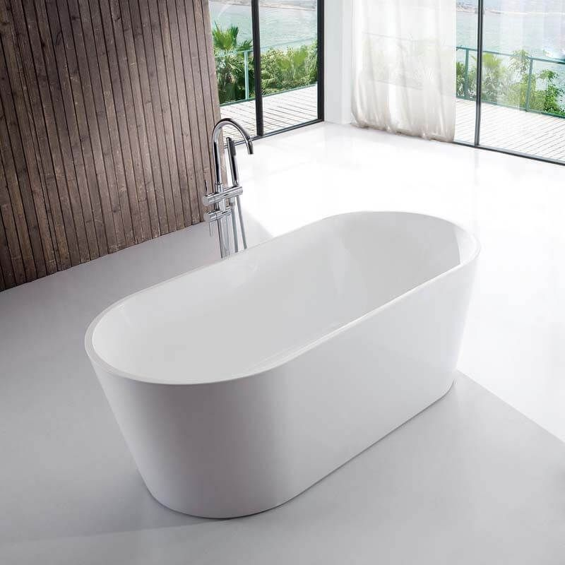Baignoire Ilot Ovale Acrylique Blanc 120x65 Cm Rome 1145613