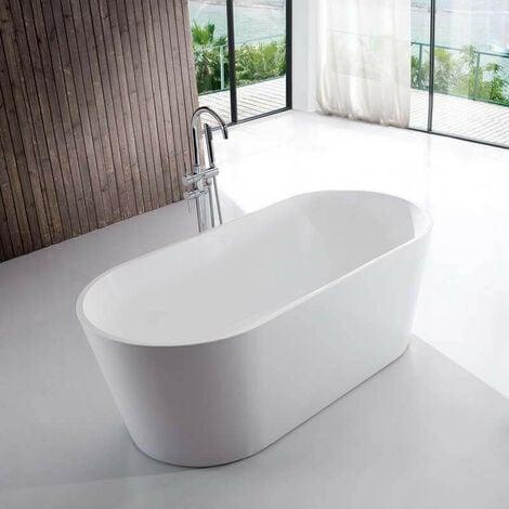Baignoire îlot Ovale - Acrylique Blanc - 170x80 cm - Milan