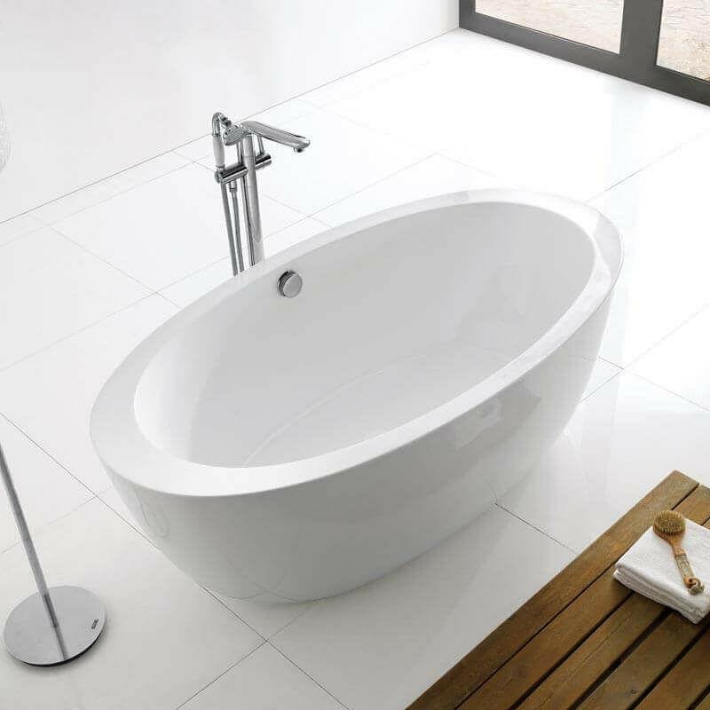 Baignoire Ilot Ovale Acrylique Blanc 170x90 Cm Paris 1104