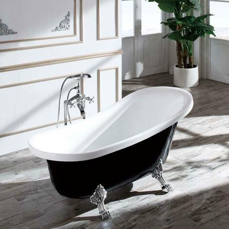Baignoire ilot Ovale - Acrylique Noir et Blanc - 160x76 cm - Vienne