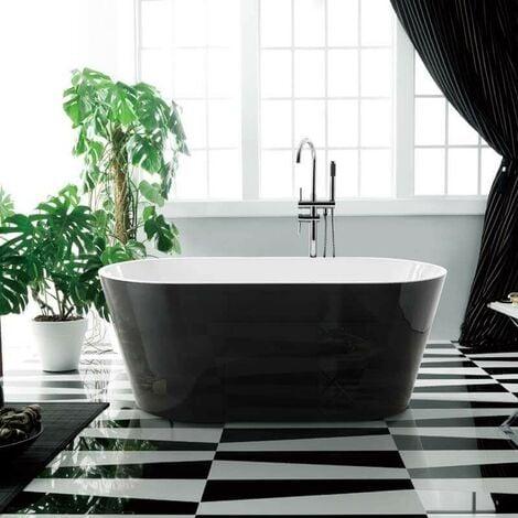 Baignoire Ilot Ovale Acrylique Noir Et Blanc 170x80 Cm Séville