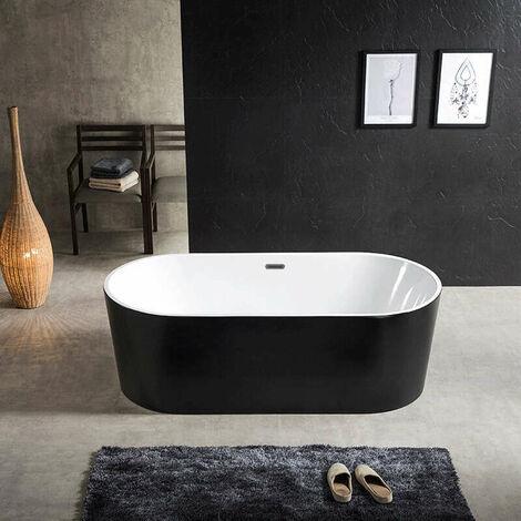 Baignoire ilot ovale en acrylique, Noir mat 170 cm - Cleo
