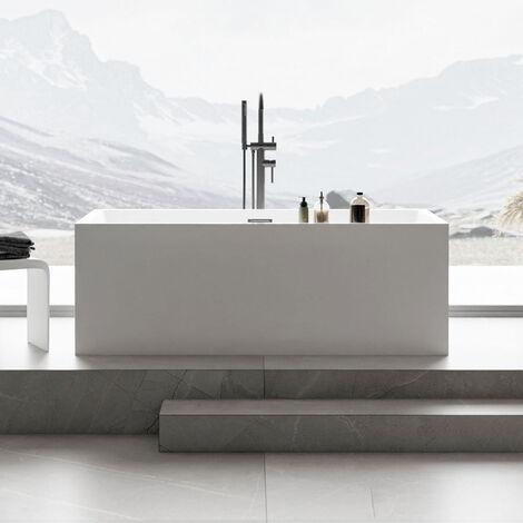 Baignoire îlot rectangulaire VERONA en acrylique sanitaire blanc - 170 x 80 x 60 cm - robinetterie en option