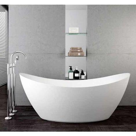 Baignoire îlot SIENA en acrylique sanitaire blanc mat - 173 x 73 x 75 cm - robinetterie en option