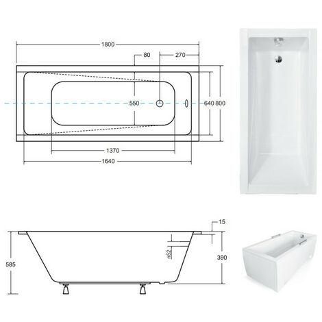 Baignoire MODERN ultra-slim 140/150/160/170/180 cm - Dimensions: 180cm