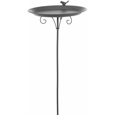 Baignoire pour oiseaux à fixer sur le fond, métal - 1.800 ml/ø 35 cm, gris