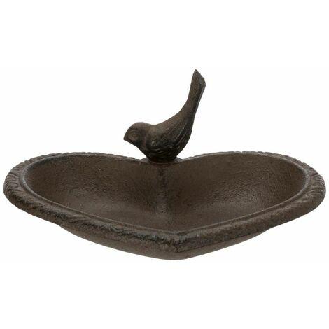 Baignoire pour oiseaux à poser, coeur, en fonte - 250 ml/16 × 15 cm, brun