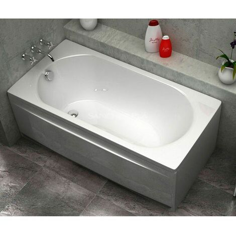 Baignoire rectangulaire acrylique droite blanc 150x70 cm Sanycces avec Tablier - Blanc