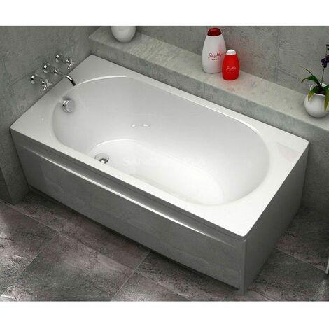 Baignoire rectangulaire acrylique droite blanc 160x70cm Sanycces avec Tablier - Blanc
