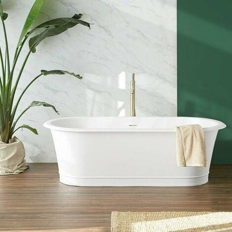 Baignoire rétro en solid surface ovale CLASSIC blanche 180 cm - Blanc