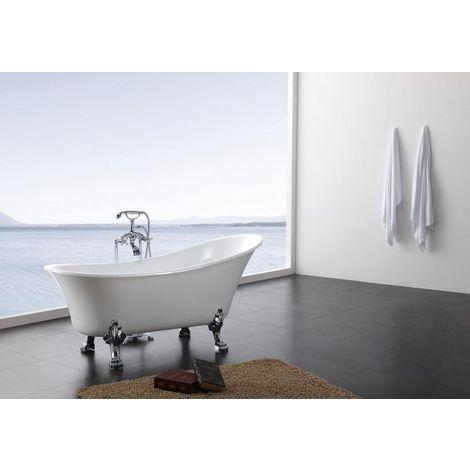 Baignoire sur pieds en acrylique PARIS, 176x71 cm, blanc, avec robinetterie 1414
