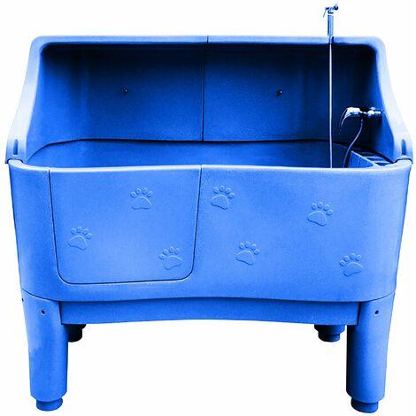 Baignoire sur pieds en polyéthylène avec paroi Couleur : Bleu