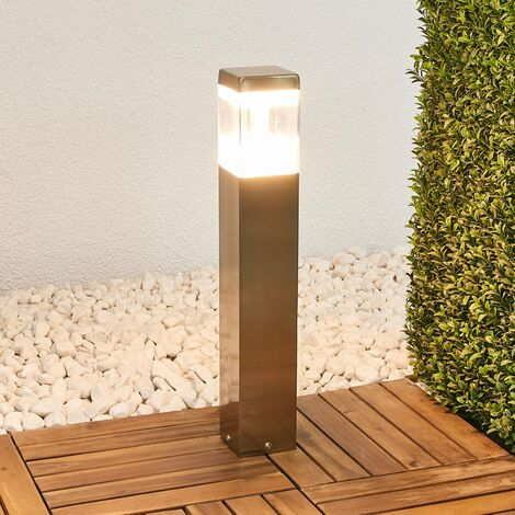 Baily pillar lamp with LEDs, stainless steel