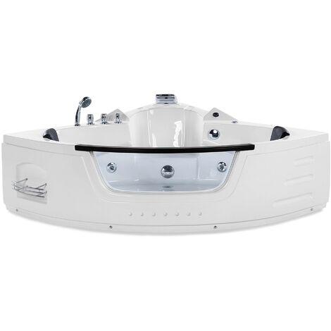 Bain à remous d'angle blanc 373 litres avec éclairage LED et surface vitrée
