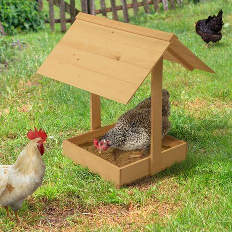 Bain de poussière pour poules bac en bois antiparasites avec toit