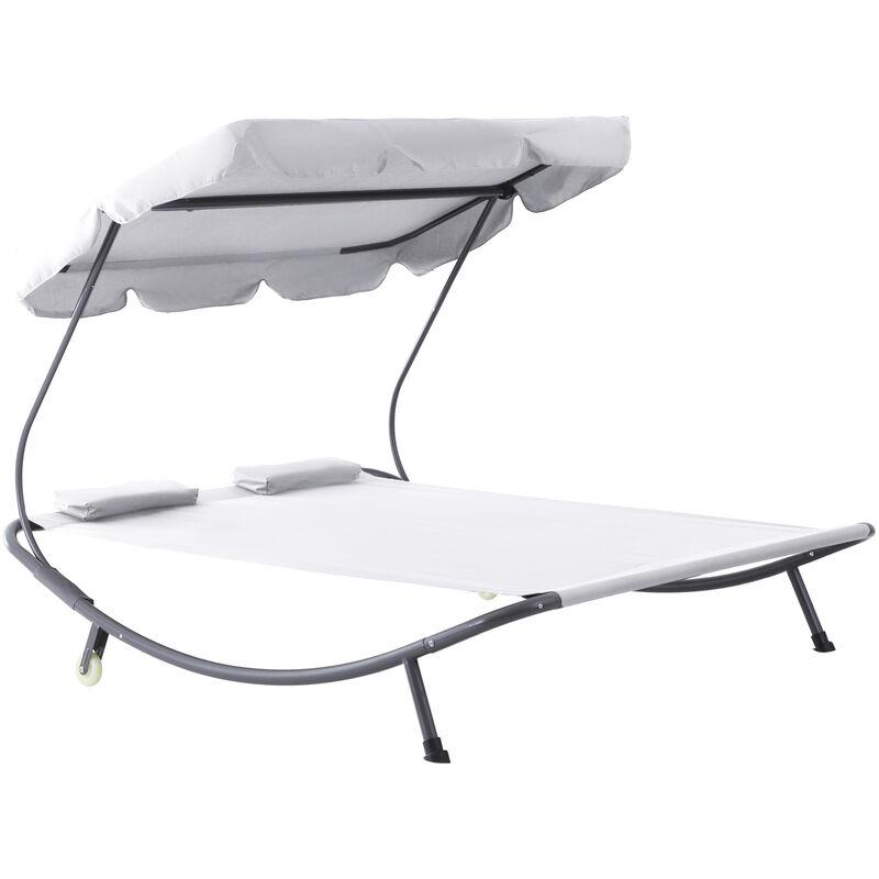Outsunny - Bain de soleil 2 places lit de jardin design contemporain toit réglable 2 roulettes 2 oreillers acier époxy polyester crème