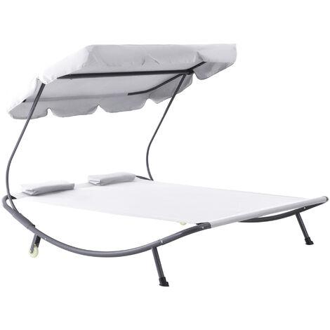 Bain de soleil 2 places lit de jardin design contemporain toit réglable 2 roulettes 2 oreillers acier époxy polyester crème