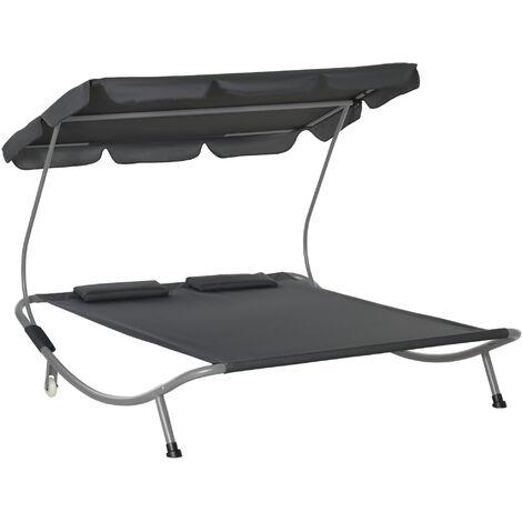 Bain de soleil 2 places lit de jardin design contemporain toit réglable 2 roulettes 2 oreillers acier époxy polyester gris