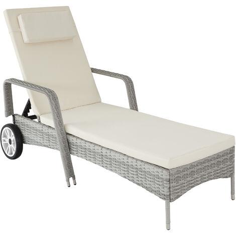 Bain de soleil aluminium BIARRITZ 6 positions avec roulettes - chaise longue, transat bain de soleil, transat jardin