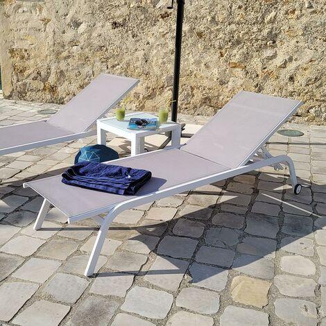 Extraordinaire Bain de soleil aluminium blanc et textilène gris Perth - 97124 HO-09
