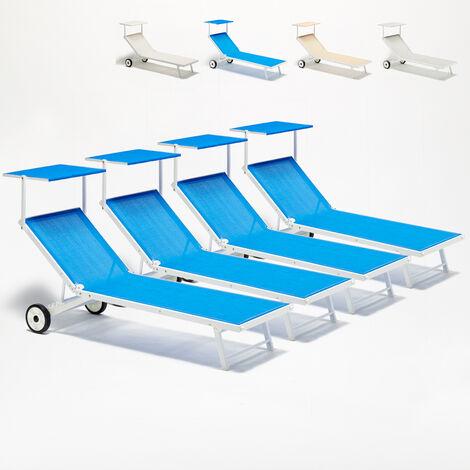 Bain de soleil avec roues transats lits de plage piscine aluminium jardin Alabama 4 pcs