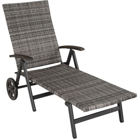 Bain de soleil avec roulettes AUCKLAND - chaise longue, transat bain de soleil, transat jardin