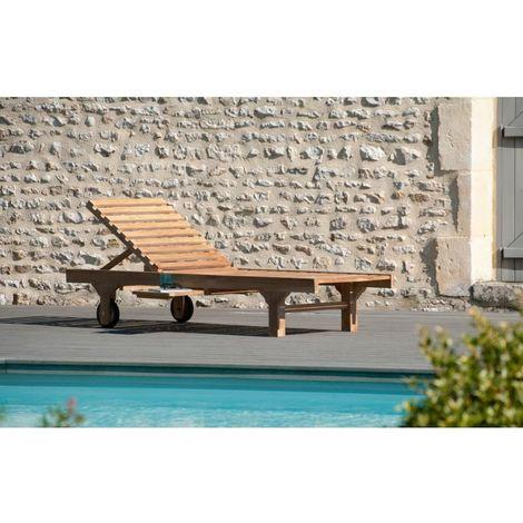 Bain de soleil avec roulettes en bois teck grade A - Marron