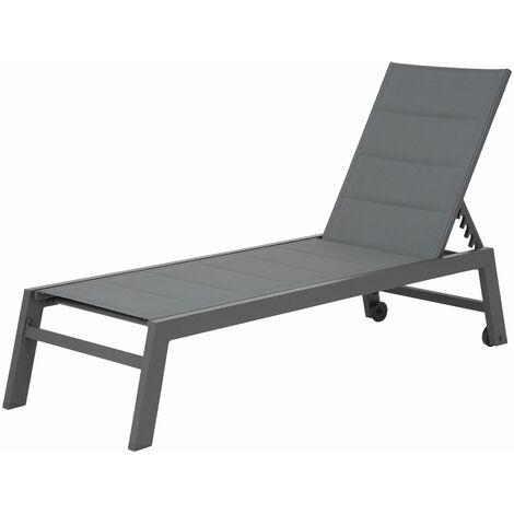 Bain de soleil BARBADOS en textilène gris - aluminium noir - 1281GN