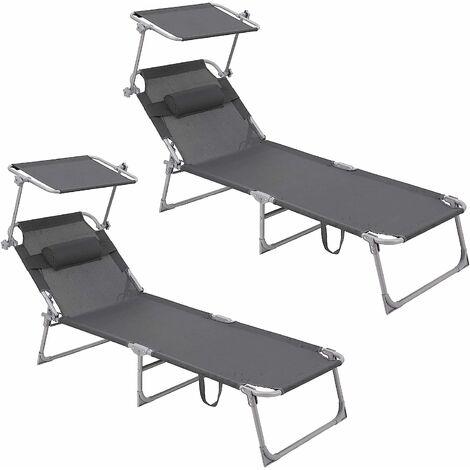 Bain de Soleil, chaise longue, Lot de 2 Chaises Inclinables, transat, chaise de jardin pliable, Charge Max de 250 kg, 193 x 53 x 29.5 cm, avec Pare Soleil et Oreiller Réglable Gris foncé GCB19UV1-2 - Gris foncé