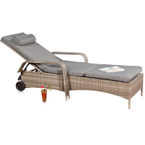 Bain de soleil, chaise longue, poly-rotin, rotin transat de soleil, gris