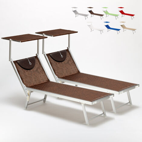 Bain De Soleil Chaise Longue Transats Aluminium SANTORINI 2 Pieces