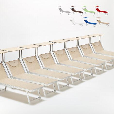 Bain de soleil chaises longue transats Lits de plage piscine aluminium jardin SANTORINI 20 pcs