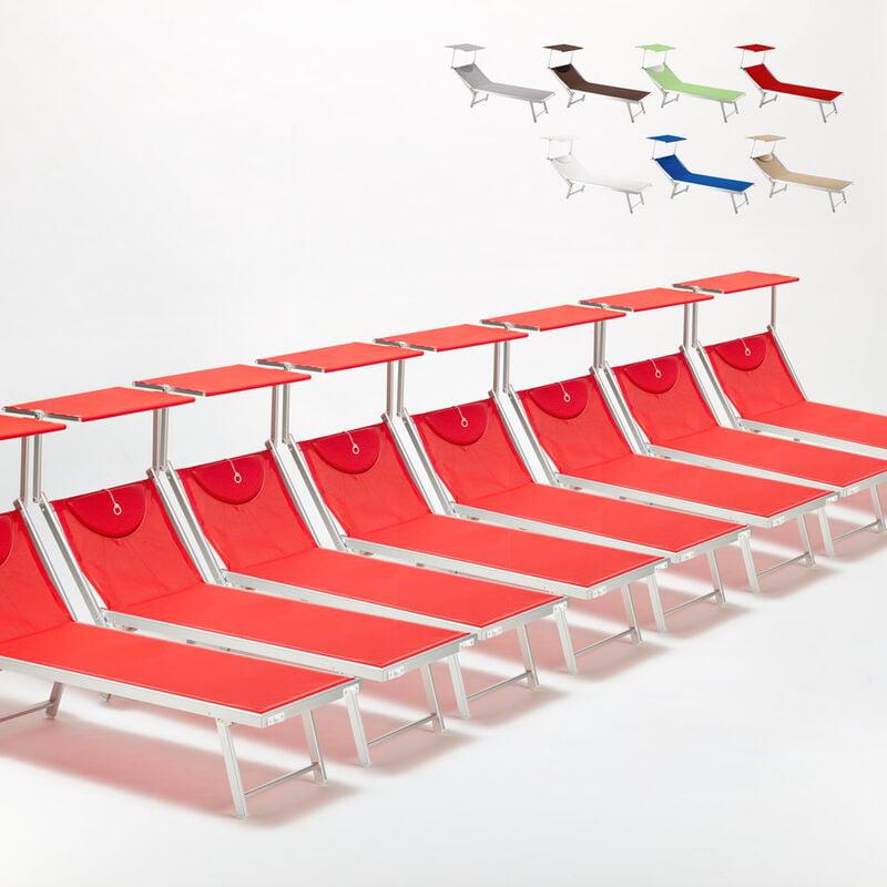 Beach And Garden Design - Bain de soleil chaises longue transats Lits de plage piscine aluminium jardin Santorini 20 pcs | Rouge