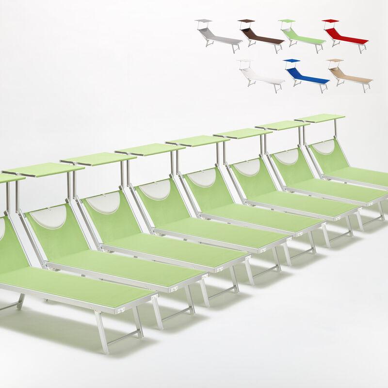 Beach And Garden Design - Bain de soleil chaises longue transats Lits de plage piscine aluminium jardin Santorini 20 pcs | Vert