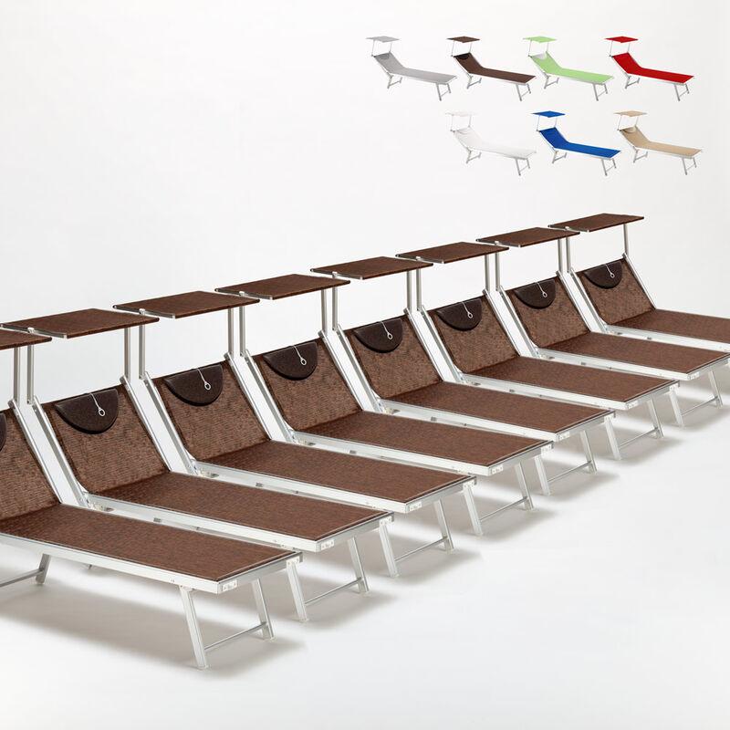 Beach And Garden Design - Bain de soleil chaises longue transats Lits de plage piscine aluminium jardin Santorini 20 pcs | Marron