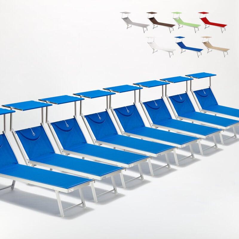Beach And Garden Design - Bain de soleil chaises longue transats Lits de plage piscine aluminium jardin Santorini 20 pcs | Bleu