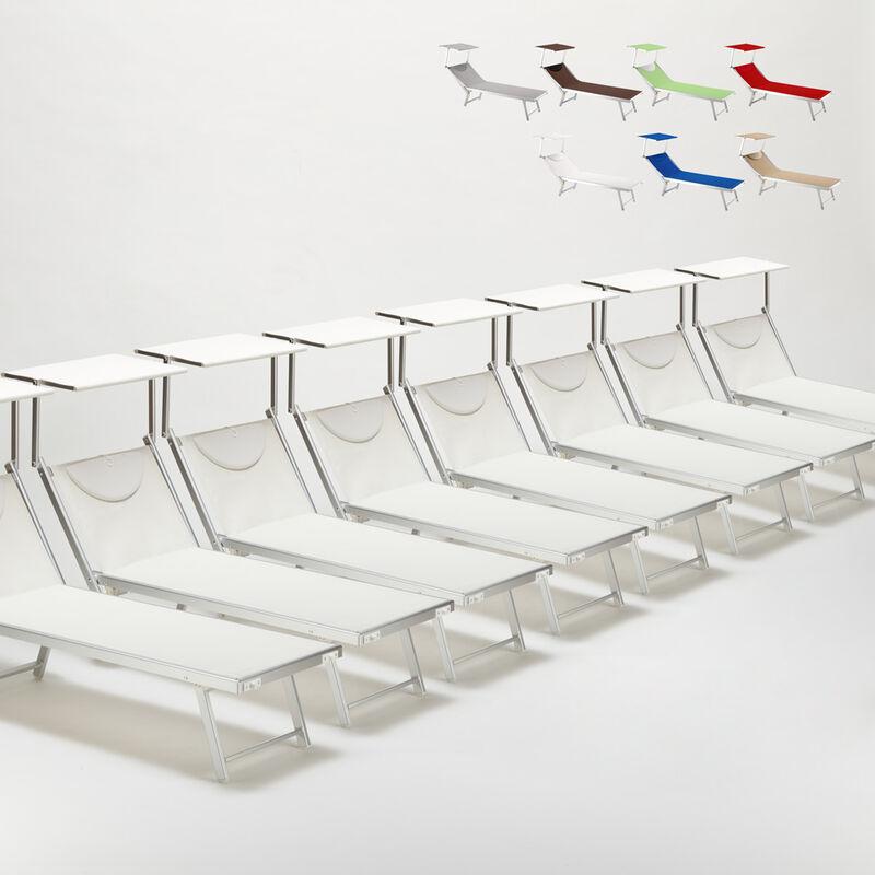 Beach And Garden Design - Bain de soleil chaises longue transats Lits de plage piscine aluminium jardin Santorini 20 pcs | Blanc