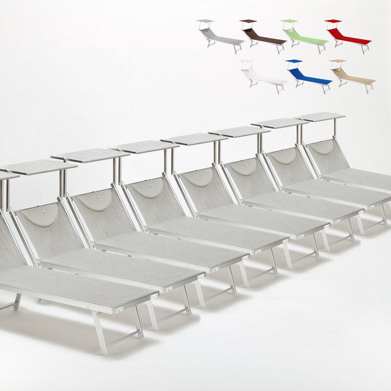Beach And Garden Design - Bain de soleil chaises longue transats Lits de plage piscine aluminium jardin Santorini 20 pcs | Gris