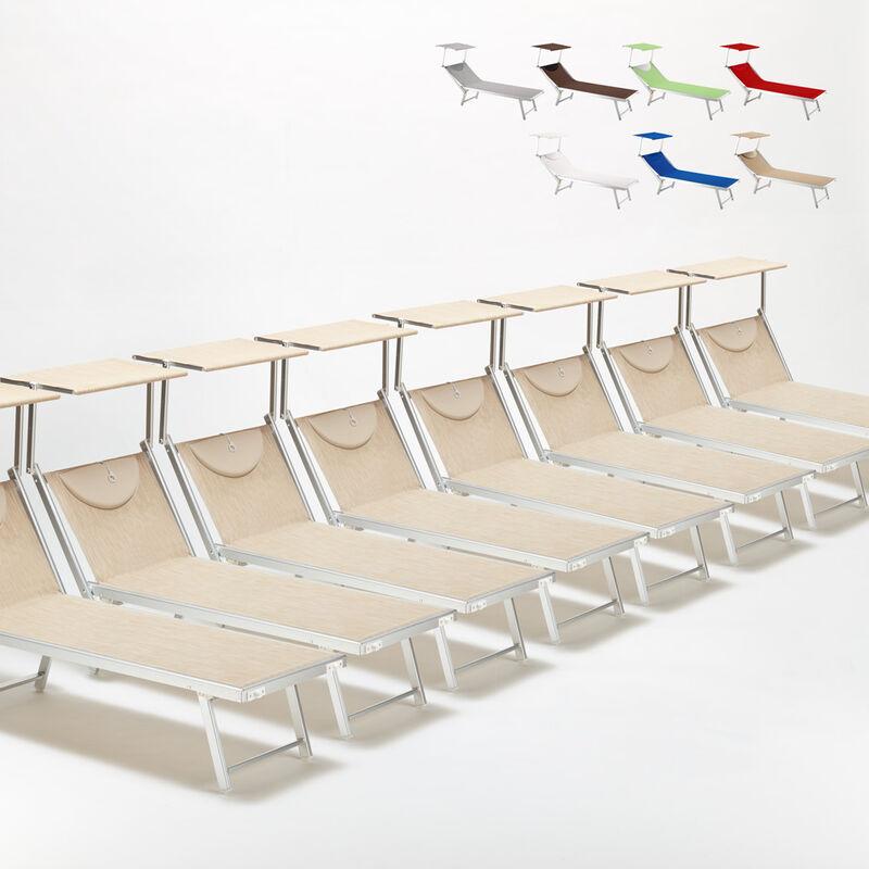 Beach And Garden Design - Bain de soleil chaises longue transats Lits de plage piscine aluminium jardin Santorini 20 pcs | Beige